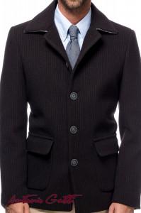 Palton Barbati Casual Scurt din Stofa Maro cu Dungi Fine B162 Lan08