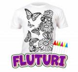 Tricou de colorat cu markere lavabile Fluturi 5-6 ani