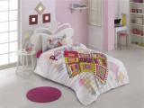 Lenjerie de pat, 1 persoana , Bumbac Ranforce, Zen Art Deco