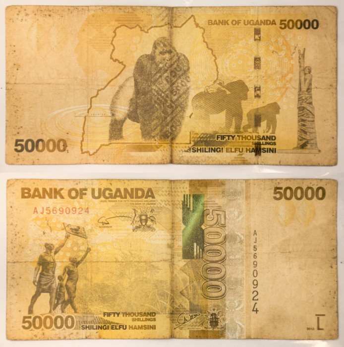 50000 shillings/ silingi, 2013 Uganda