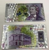 500 Lei 2005 - Bancnota polymer (plastic) placata cu Argint.999
