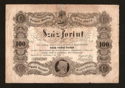 Romania / Ungaria 100 Forinti 1848 . Text in Chirilica, semnat de Kossuth Lajos foto