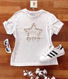 Tricou dama ieftin alb cu maneca scurta si imprimeu LITTLE THINGS