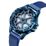Ceas Sanda, cadran forma de inimioare rotative 360 grade, mecanism japonez seiko, Fashion, Quartz, Inox