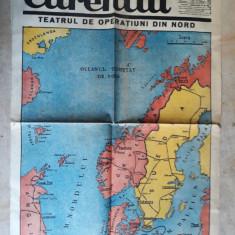 WWII - HARTA OPERATIUNI FRONTUL DE NORD - EXTRAS DIN ZIARUL CURENTUL 20 APR.1940