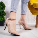 Pantofi cu toc dama bej Nolisia-rl