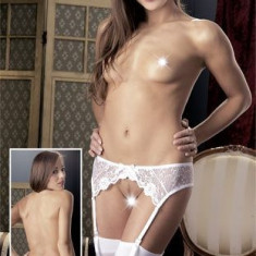 Ciorapi Sexy Cu Jartiere, Alb, S/M
