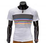 Cumpara ieftin Tricou pentru barbati, alb, cu dungi multicolore, mulat, slim fit - z333-alb