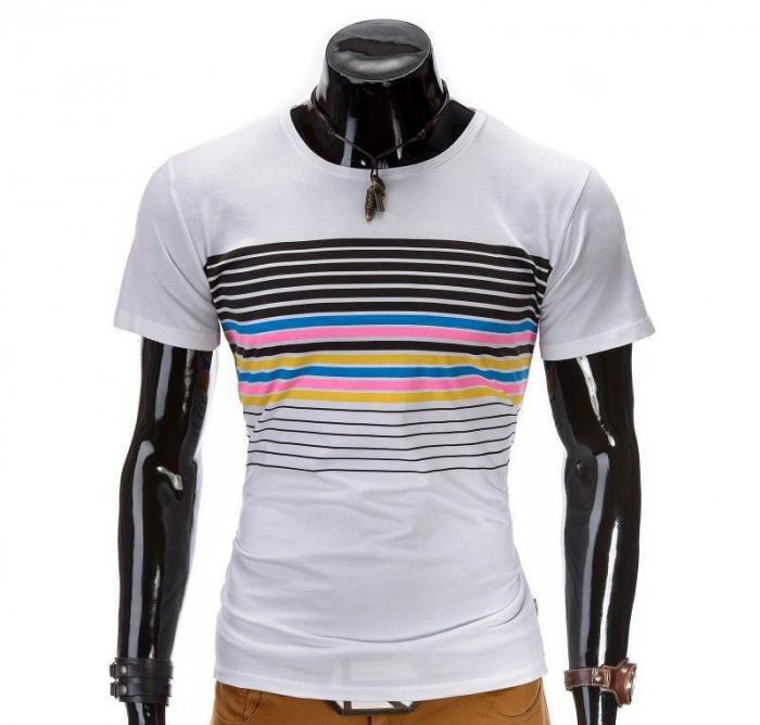 Tricou pentru barbati, alb, cu dungi multicolore, mulat, slim fit - z333-alb