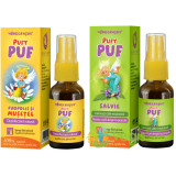 Pachet Pentru Copii Pufy Puf: Propolis Si Musetel Spray Fara Alcool 20ml + Salvie Spray Fara Alcool 20ml