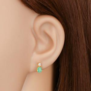 Cercei din aur galben 14K - smarald verde în formă de lacrimă, diamant rotund transparent