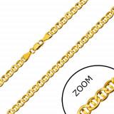 Lanț din aur galben 14K - zale plate separate cu bob, 550 mm