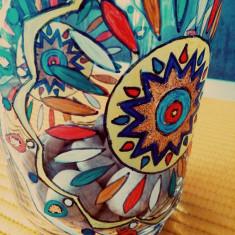 decoratiune sticla pictata manual