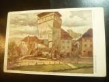Ilustrata Sighisoara - Turnul Dogarilor - Acuarela Betty Schuller, Circulata, Printata