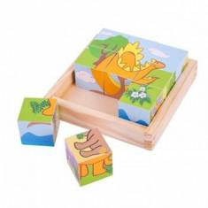 Puzzle cuburi - Dinozauri, 9 piese