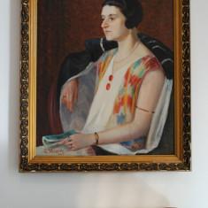 """Tablou pictura """"Pe Ganduri"""" - C. Heinrich - ulei pe panza, Portrete, Realism"""