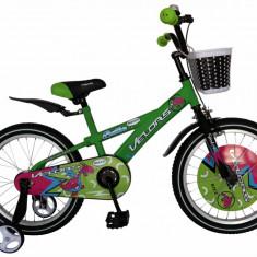 Bicicleta copii 18 FIVE Skiddo cadru otel culoare verde negru roti ajutatoare varsta 5 7 ani