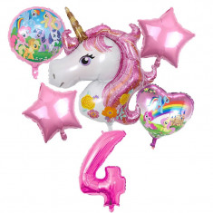 Set 6 baloane folie Unicorn magic My Little Pony cifra 4 117 x 85 cm