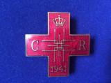 Insignă regalistă - Insignă România - Crucea Roșie Societatea Regina Elena -1941