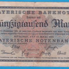 (1) BANCNOTA GERMANIA - 50.000 MARK 1923 (15 MARTIE), BAYERISCHE BANKNOTE