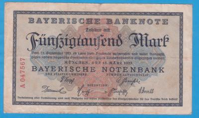 (1) BANCNOTA GERMANIA - 50.000 MARK 1923 (15 MARTIE), BAYERISCHE BANKNOTE foto