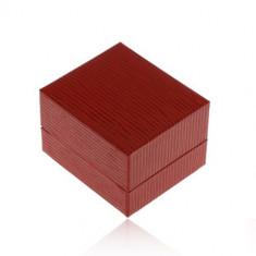 Cutiuță de cadou pentru cercei, suprafața din imitație de piele de culoare roșu-închis, caneluri