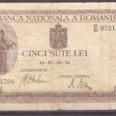 Romania 1942 IV 20 - 500 lei filigran BNR vertical, uzata