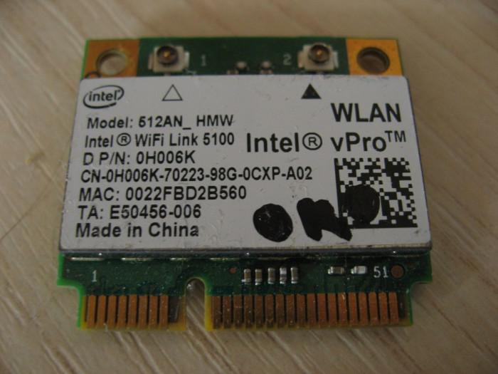 Placa wireless laptop Dell Precision M6500, Intel WiFi Link 5100, 0H006K