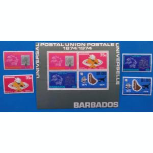 BARBADOS- 1974-Centenar-'UPU''- Seria +Colita -MNH