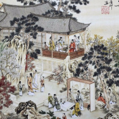 Pictura in acuarela reproducere - Gaoshi People - Tong Yin 132x63 Cm, Natura, Realism