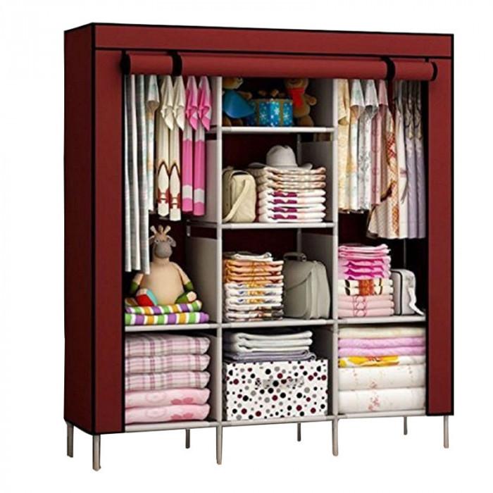 Dulap textil Storage Warderobe 88130, 130 x 45 x 175 cm, 8 rafturi