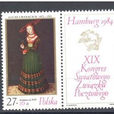 Polonia, pictura, L. Cranach, cu vinieta, 1984, MNH