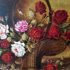 Tablou cos flori trandafiri ulei pe carton semnat pictor roman semnatura rama, Realism