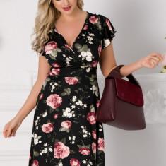 Rochie Eliada neagra cu imprimeu floral