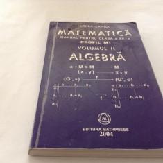 MATEMATICA , ALGEBRA , MANUAL PENTRU CLASA A XII A ,  M1 , VOL II - GANGA , 2004