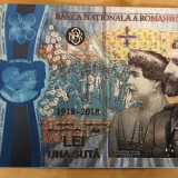 100 Lei Centenar Unire 2018 bancnota aniversara argint