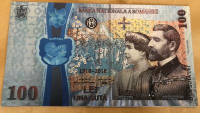 100 Lei Centenar Unire 2018 bancnota aniversara polimer inobilata cu argint pur foto