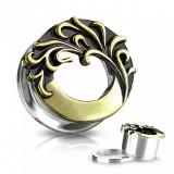 Plug din oțel pentru ureche - cerc patinat cu motiv floral în culoare aurie - Lățime: 16 mm