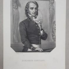 BENJAMIN CONSTANT , GRAVURA PE METAL de L. WOLFF, PARIS , MONOCROMA, MIJLOCUL SECOLULUI XIX