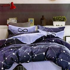 Lenjerie de pat din Bumbac cu stele si constelatii HX 32, 230x250 cm, Set complet