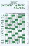 Romania, Sanpaolo IMI Bank, calendar de buzunar, 2007