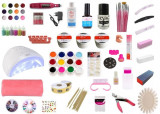 Cumpara ieftin Kit unghii Extra, lampa uv led SunOne, pila electrica, suport,12 geluri colorate