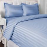 Lenjerie de pat matrimonial XXL cu husa de perna dreptunghiulara, Elegance, damasc, dunga 2 cm 160 g mp, Blue, bumbac 100%