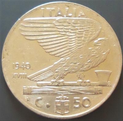Moneda ISTORICA 50 CENTESIMI - ITALIA FASCISTA, anul 1941 *cod 827 A foto