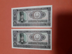 Bancnote romanesti 25lei 1966 serii consecutive unc foto