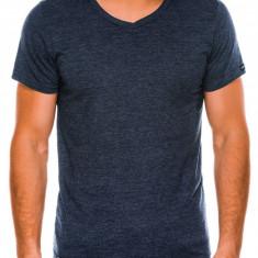 Tricou slim fit barbati - S1041 - bleumarin