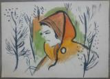 Portret de tanara in padure// acuarela pe hartie