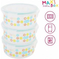 Set 3 boluri ermetice Maxi 500 ml pentru pastrarea hranei Badabulle