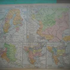 HOPCT DOCUMENT-HARTA VECHE NR 44 SUEDIA,RUSIA SI ESTUL-D=320/250 MM LEIPZIG 1918
