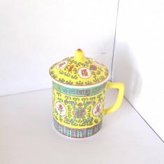 Cana cu capac portelan enamel, handmade, anii 50-60 - marcaj Jingdezhen China